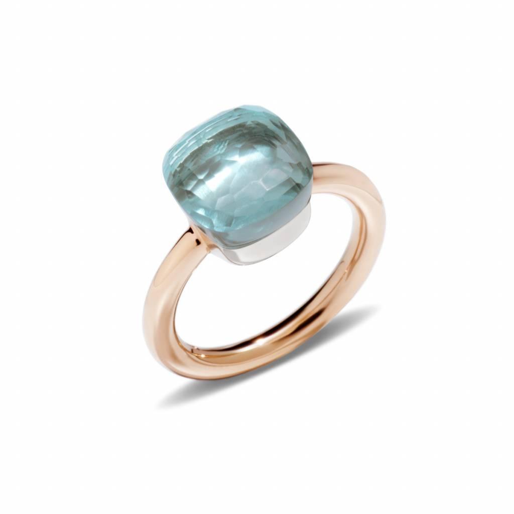 Pomellato 18 kt. roségouden Nudo Classic ring met blauwe