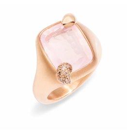 Pomellato Pomellato Ritratto ring roze kwarts en cognac diamant
