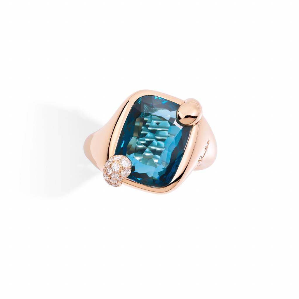 Pomellato Pomellato 18 kt. Ritratto ring met London topaas en diamant 0.16 ct.