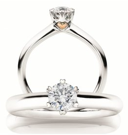 Private Label CvdK Solitair ring 18 kt. witgoud 0.33 ct.  GIA Certificaat