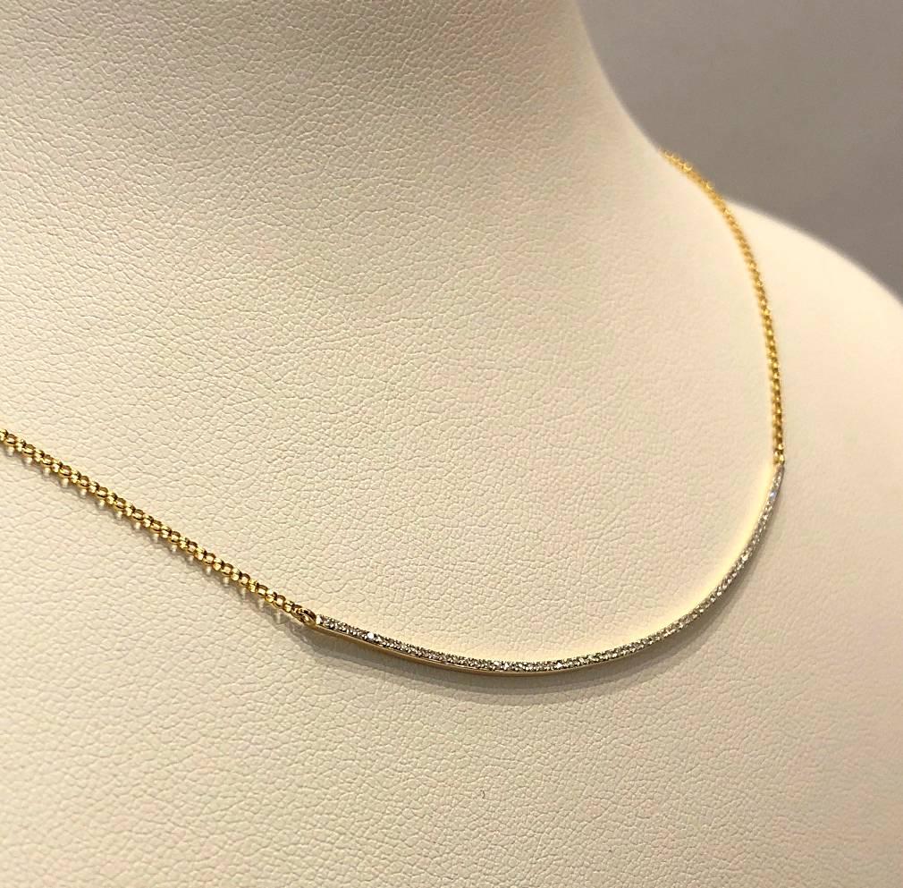 14 kt. gouden collier met diamant 0.16 ct.