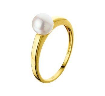 Private Label CvdK Een 14 kt. gouden ring met een zoetwaterparel.