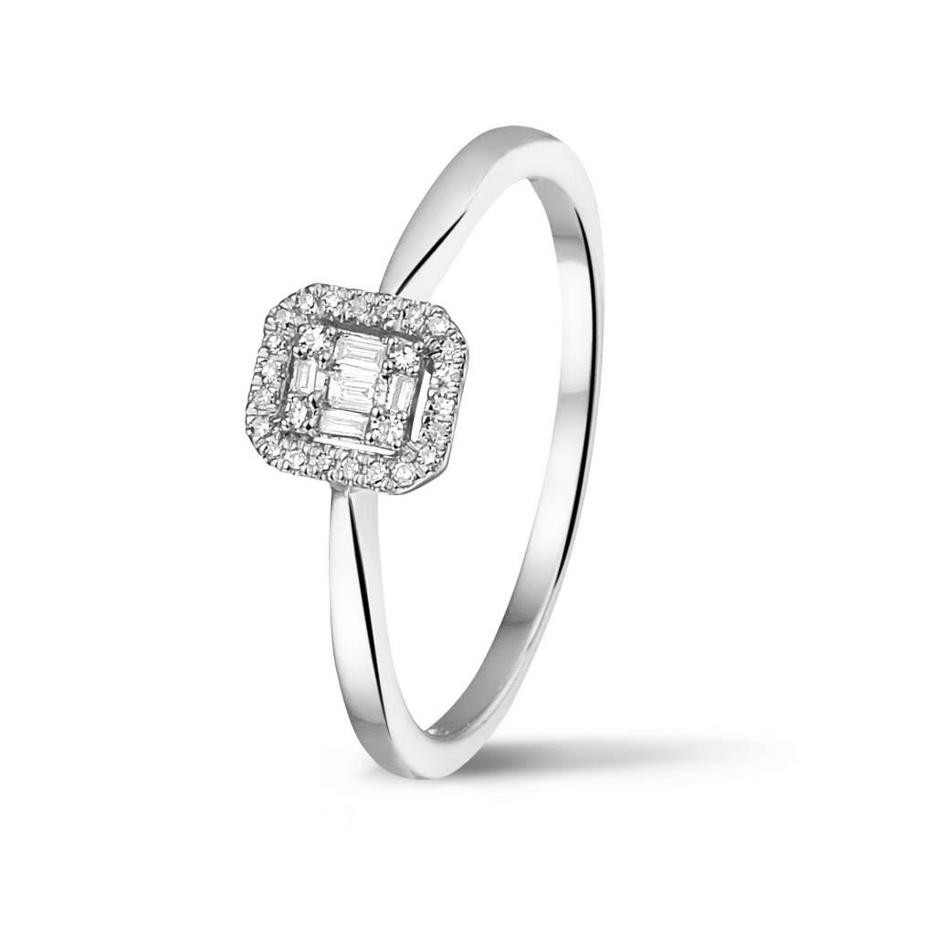 Private Label CvdK Een 14 kt. wit gouden ring met briljant en baguette geslepen diamanten 0.09 ct. H/SI