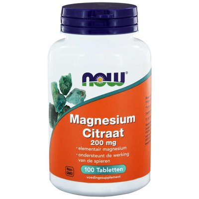 NOW NOW Magnesium Citraat 200 mg (100 tabs)