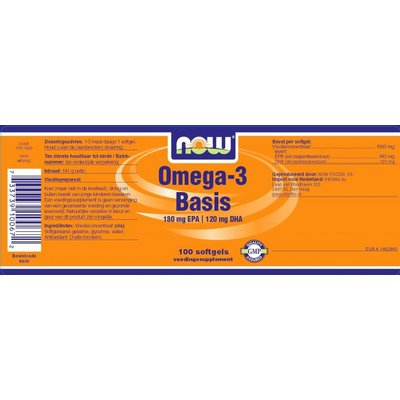 NOW NOW Omega-3 Basis 180 mg EPA 120 mg DHA (100 softgels)