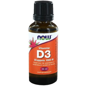 NOW Vitamine D3 druppels 1000 IE (30 ml)