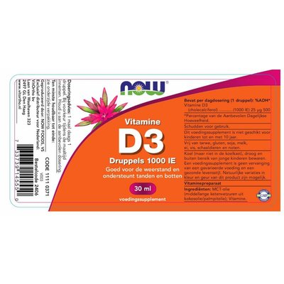 NOW NOW Vitamine D3 druppels 1000 IE (30 ml)