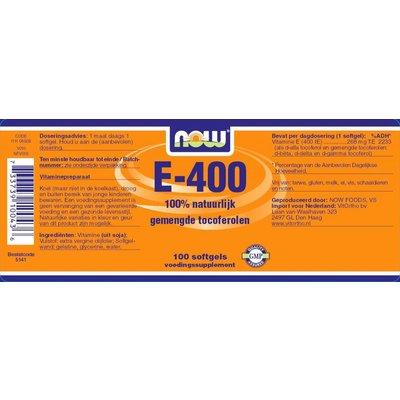 NOW NOW E-400 gemengde tocoferolen (100 softgels)