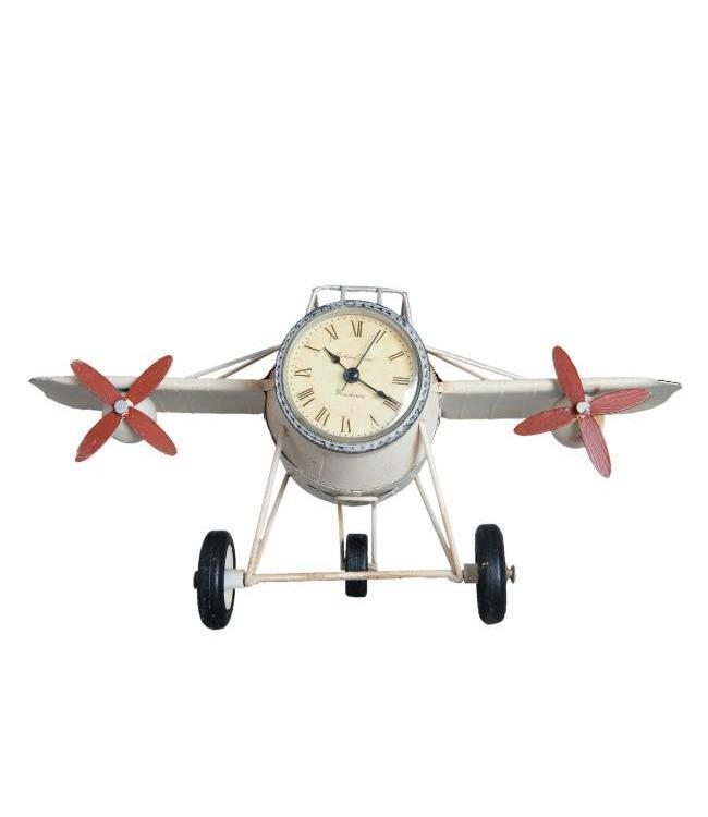 Clayre & Eef Retro Model Vliegtuig Klok met Pennenbakje