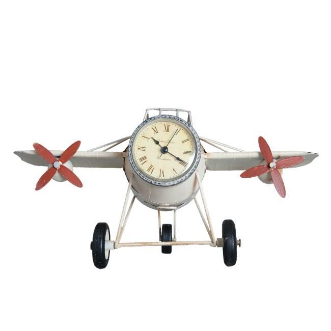 Retro Model Vliegtuig Klok met Pennenbakje