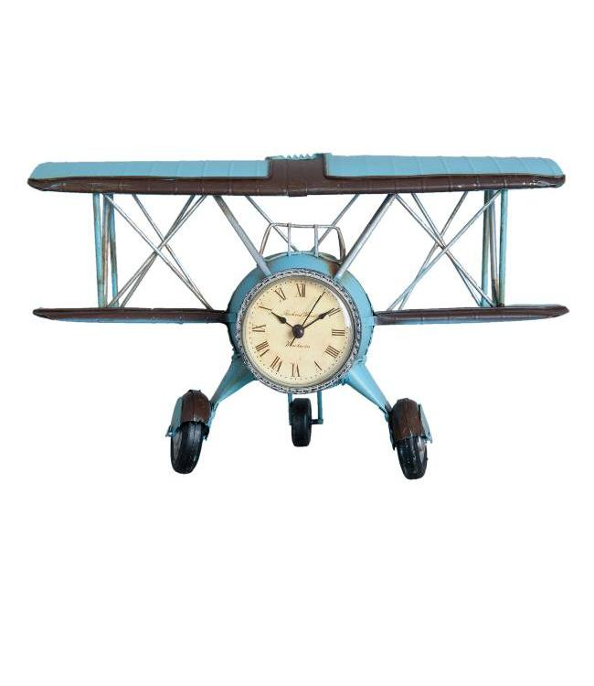 Retro Model Dubbeldekker Vliegtuig Klok