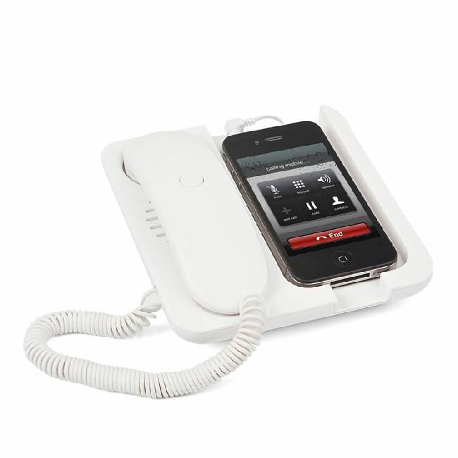 Witte Mobiele telefoonhouder en speaker Pronto!