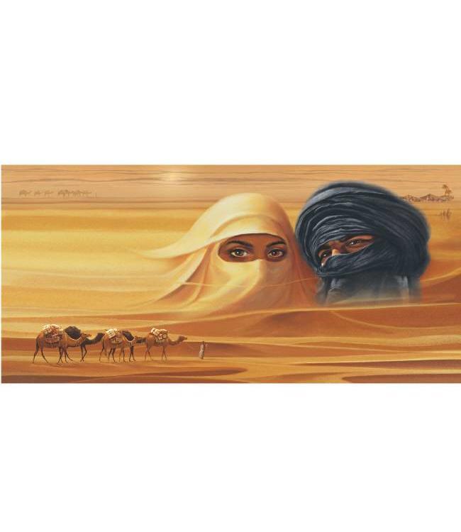 Kunstzinnige Ingelijste Posters: Arabische mensen in de woestijn met kamelen