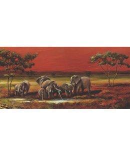 Ingelijste Posters: Olifanten op de Savanne