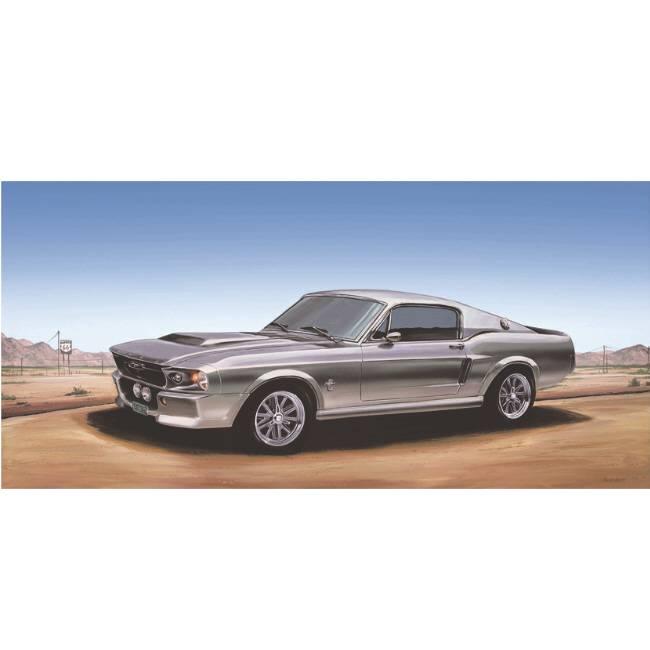 Kunstzinnige Ingelijste Posters: Route 66 Grijze Mustang