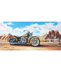Ingelijste Posters: Route 66 Motor Harley Davidson geel