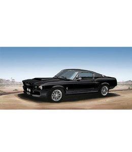 Ingelijste Posters: Route 66 Zwarte Mustang