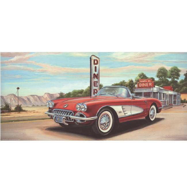 Kunstzinnige Ingelijste Posters: Route 66 Diner