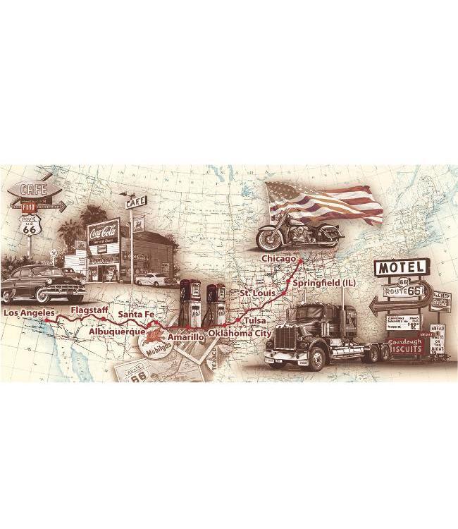Kunstzinnige Ingelijste Posters: Route 66 Routekaart