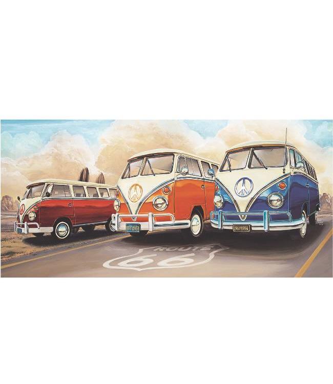 Kunstzinnige Ingelijste Posters: Route 66 Drie Volkswagen bussen