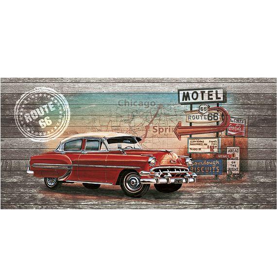 Kunstzinnige Ingelijste Posters: Route 66 Red Car on wood