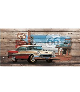 Ingelijste Posters: Route 66 Red White Car on wood