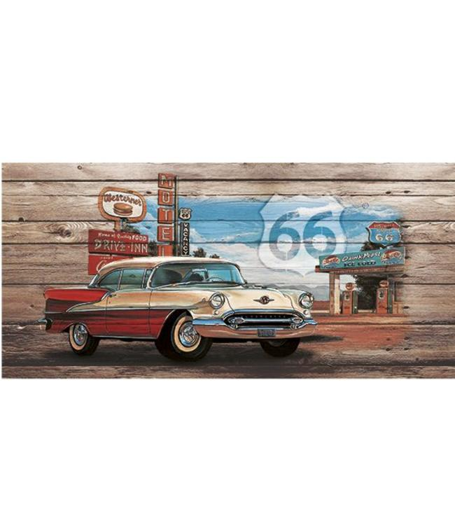 Kunstzinnige Ingelijste Posters: Route 66 Red White Car on wood