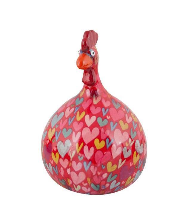 Spaarpot Kip Big Marie rood met hartjes