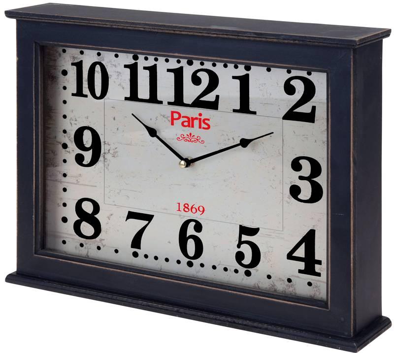 "Wand / tafelklok ""Paris"" 40x30x8cm (zwart)"