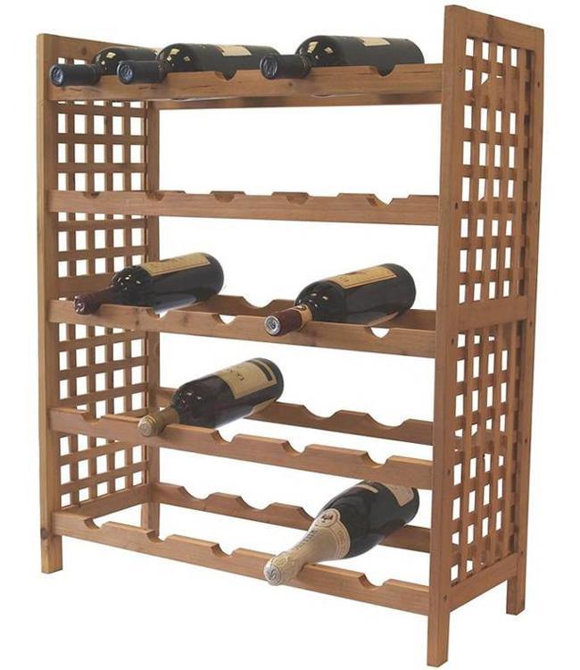 Houten wijnrek voor 25 flessen