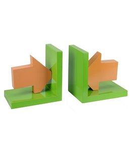 Boekensteunen  (groen/oranje)