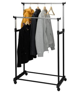 Mobiel dubbel kledingrek (86x42x170)