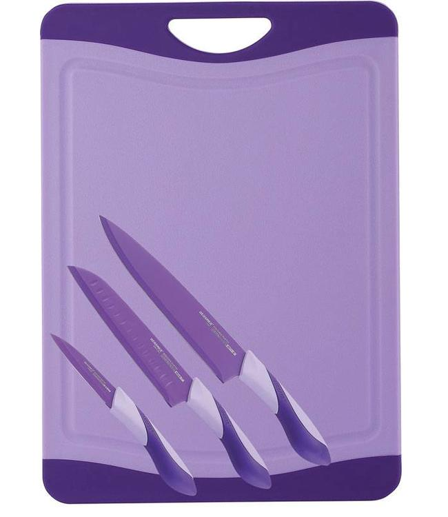 Snijbord met 3 messen (lila)