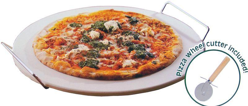 Pizza baksteen met houder en pizzasnijder