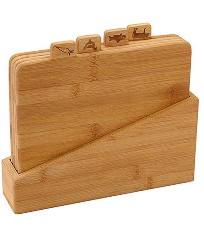 Bamboe snijplankenset in houder