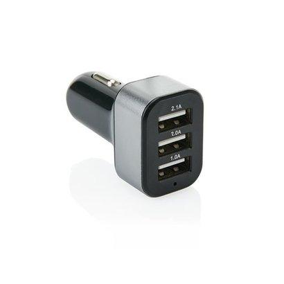 3.1A auto lader met 3 USB poorten, zwart/grijs