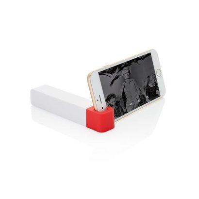 2200 mAh powerbank en telefoon standaard, rood/wit