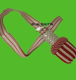 Silber/rot Portepee mit rot Gestreifer silber Tresse
