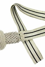 Silber Portepee mit Gestreifer silber Tresse - grosse Ausführung