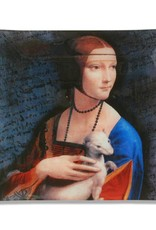CARMANI - elegante Porzellanserien in Limited Edition. Leonardo da Viinci -   Glasteller mit dem Motiv  - Dame mit dem Hermelin
