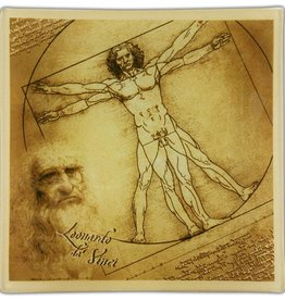 CARMANI - elegante Porzellanserien in Limited Edition. Leonardo da Vinci - Glass plate XL - Vitruvian man