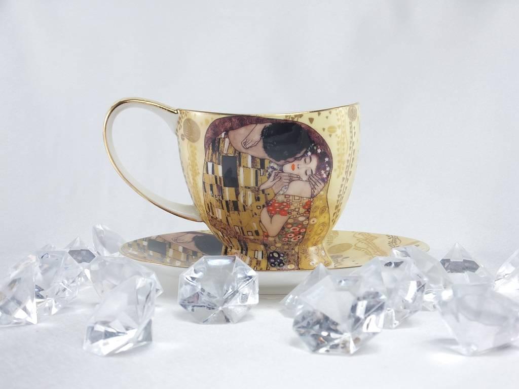 CARMANI - elegante Porzellanserien in Limited Edition. Gustav Klimt - Kaffeetassen Set - Der Kuss - hell