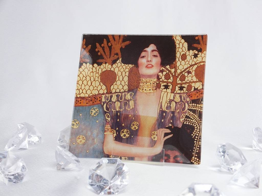 CARMANI - elegante Porzellanserien in Limited Edition. Gustav Klimt - Judith - Glass plate 13 x 13 cm