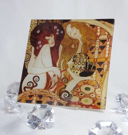CARMANI - 1990 Gustav Klimt - glass plate - 13 x 13 cm - The girlfriends