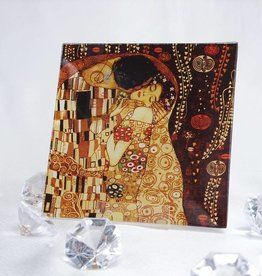 CARMANI - elegante Porzellanserien in Limited Edition. Gustav Klimt - glass plate - 13 x 13- The Kiss