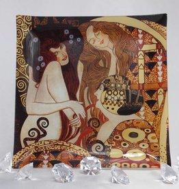 CARMANI - elegante Porzellanserien in Limited Edition. Gustav Klimt - Glasteller - Beethovenfries 25 x 25 cm -