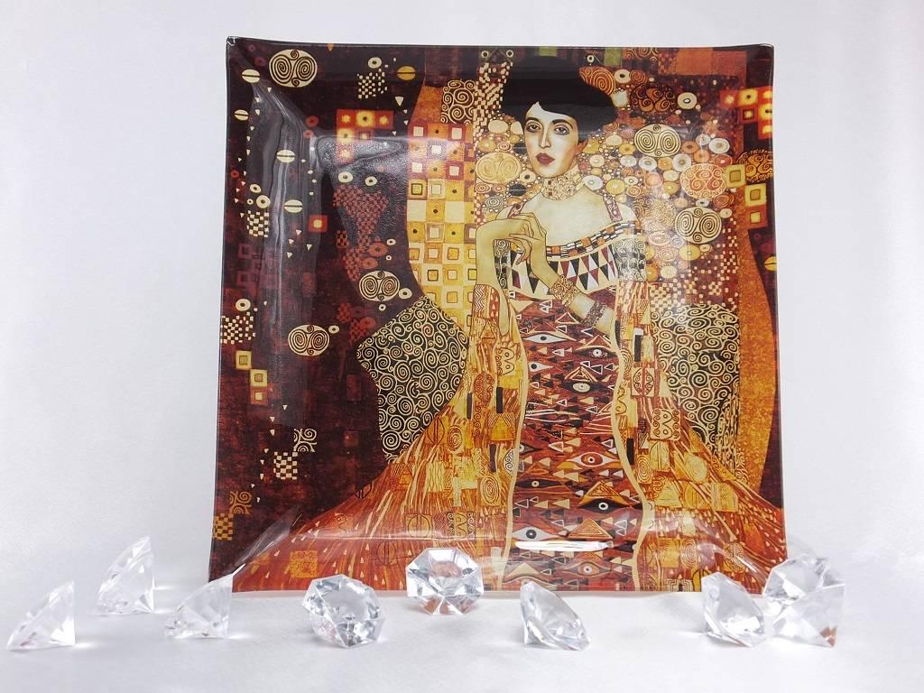 CARMANI - 1990 Gustav Klimt - glass plate - Adele Bloch Bauer 25 x 25 cm