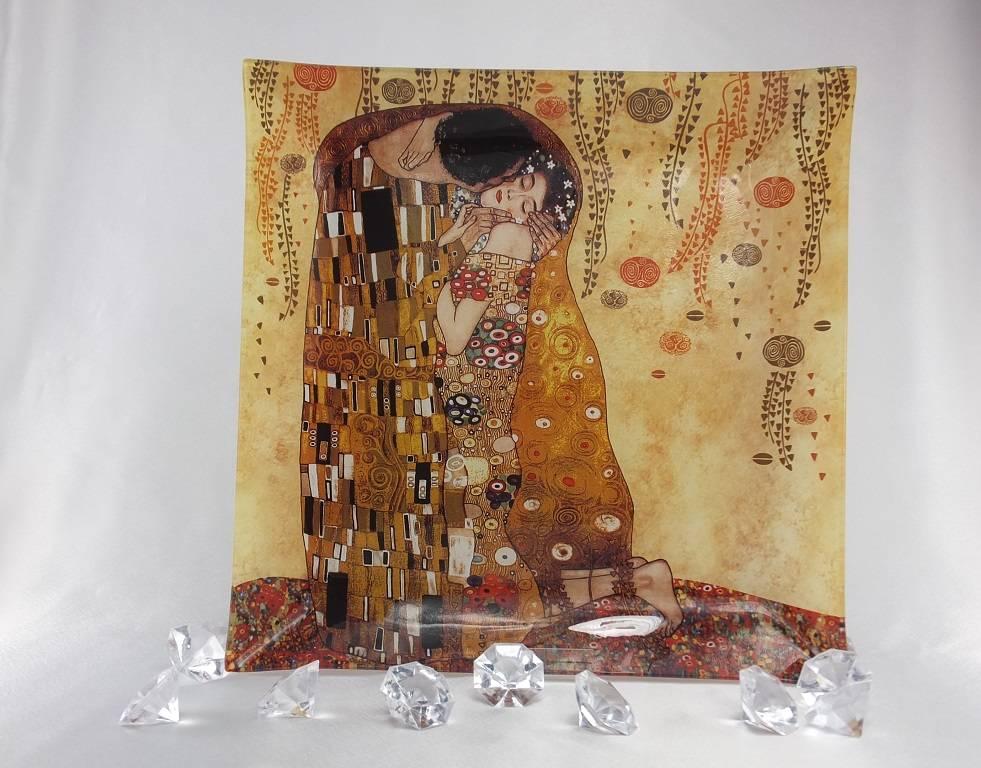 CARMANI - elegante Porzellanserien in Limited Edition. Gustav Klimt - glass plate - 30 x 30 cm - The Kiss bright