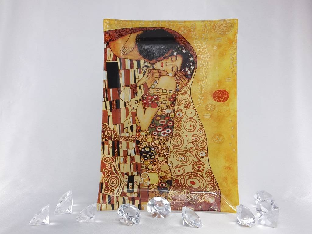 CARMANI - elegante Porzellanserien in Limited Edition. Gustav Klimt - glass plate - The Kiss light - 28 x 20 cm