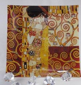 CARMANI - elegante Porzellanserien in Limited Edition. Gustav Klimt - Glasteller- 25 x 25 cm Der Kuss